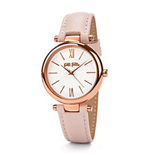 Folli Follie Cyclos Rose Gold & Blush Leather Strap Watch