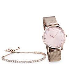 Diamonique 4.6ct tw Tennis Bracelet & Watch Set Stainless Steel