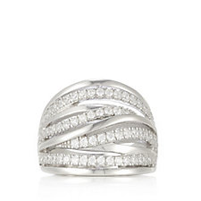 Diamonique 0.7ct tw Pave Wave Ring Sterling Silver