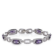Diamonique By Tova 17ct tw Cushion Cut 19cm Bracelet Sterling Silver