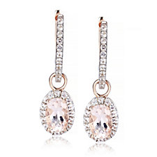 0.8ct Morganite Oval Drop Hoop Earrings Rose Gold Vermeil Sterling Silver