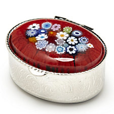 Murano Glass Millefiori Large Oval Pill Box