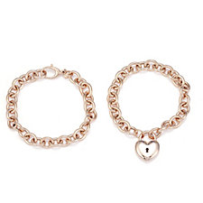 Bronzo Italia Convertible Set of 2 Bracelets into Necklace with Heart Locket
