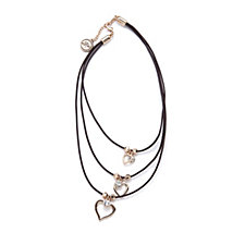 Bibi Bijoux Crystal Heart Leather Layered 36cm Necklace