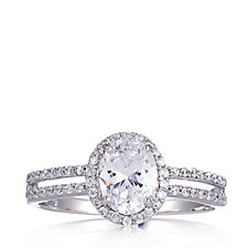 Diamonique 1.77.ct tw Solitaire Halo Ring Sterling Silver