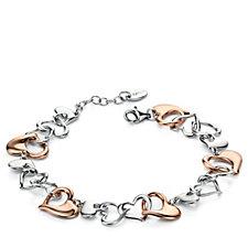 Fiorelli Silver Bi Colour Multi Heart 19cm Bracelet Rose Gold Plated