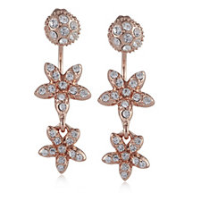 Loverocks Crystal Stud & Flower Drop Earrings