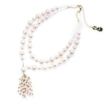 Butler & Wilson Double Strand Simulated Pearl Tassel Drop 43cm Necklace