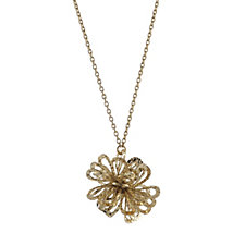 9ct Gold Dahlia Cluster 43cm Necklace