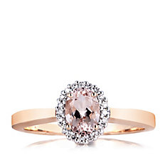 0.8ct Morganite Premier & 0.8ct Diamond Oval Ring 9ct Gold