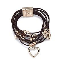 Bibi Bijoux Crystal Heart Leather Layered Bracelet