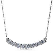 Diamonique 2ct tw Curved 45cm Necklace Sterling Silver