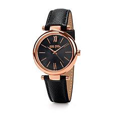 Folli Follie Cyclos Rose Gold & Black Leather Strap Watch
