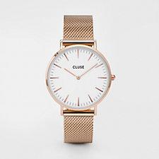 Cluse La Boheme White Dial Mesh Strap Watch