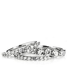306487 - Diamonique 2.1ct tw 3 Piece Eternity Ring Set Sterling Silver