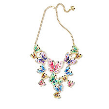 Butler & Wilson Multicolour Enamel & Crystal Butterflies 36cm Necklace