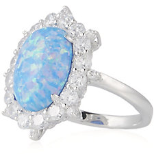 Diamonique 1.2ct tw Simulated Opal Halo Ring Sterling Silver