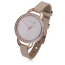Aurora Swarovski Crystal Leather Strap Watch