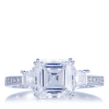 Diamonique 3ct tw Asscher Cut Platinum Plated Ring Sterling Silver