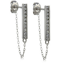 Diamonique 0.2ct tw Bar & Chain Earrings Sterling Silver