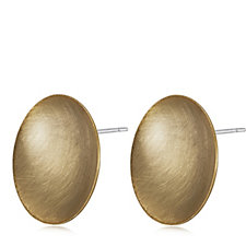 MarlaWynne Brushed Metal Concave Disc Earrings
