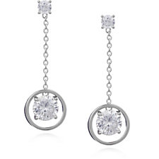 Diamonique 2.52ct tw Circle Drop Earrings Sterling Silver