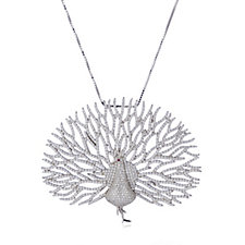Diamonique Couture 5.3ct tw Peacock Pendant Brooch & 60cm Chain Sterling Silver