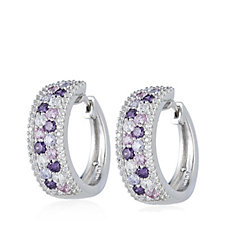 Diamonique 1.6ct tw Pave Multi Coloured Hoop Earrings Sterling Silver