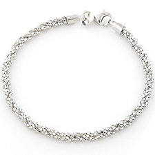 Bianca Platinum Plated Braided 19cm Bracelet Sterling Silver