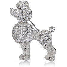 Diamonique 1ct tw Poodle Brooch Sterling Silver