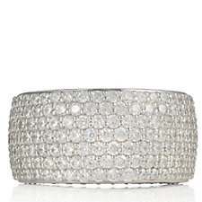 Diamonique 2.6ct tw Pave Wide Band Ring Sterling Silver