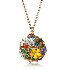 Bill Skinner Hand Carved Floral Orb Pendant & 76cm Chain