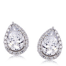 Michelle Mone for Diamonique 3ct tw Pear Cut Halo Stud Earrings Sterling Silver