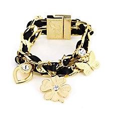 Bibi Bijoux Crystal Heart Charm Ribbon Bracelet