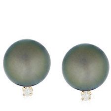 9-10mm Cultured Tahitian Pearl Diamond Accent Stud Earrings 14ct Gold