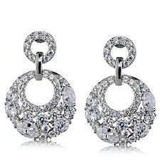 Diamonique 3.9ct tw Glamour Circle Earrings Sterling Silver