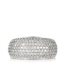 Diamonique 1.3ct tw Pave Wide Band Ring Sterling Silver