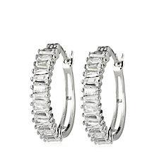 Diamonique 1.9ct tw Baguette Cut Hoop Earrings Sterling Silver