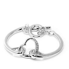 Frank Usher Crystal Heart Toggle Bracelet