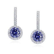 Diamonique 4.5ct tw Simulated Tanzanite Drop Earrings Sterling Silver