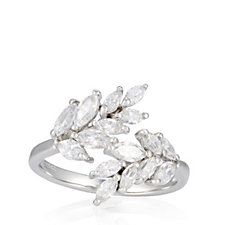 Diamonique 1.9ct tw Marquise Cross Over Ring Sterling Silver