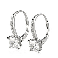 Diamonique 2ct tw 4 Prong Cushion Cut Leverback Earrings Sterling Silver
