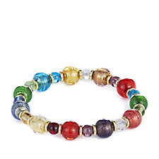 Murano Glass Multicolour 6-10mm Bead Stretch Bracelet 18ct Gold Plated