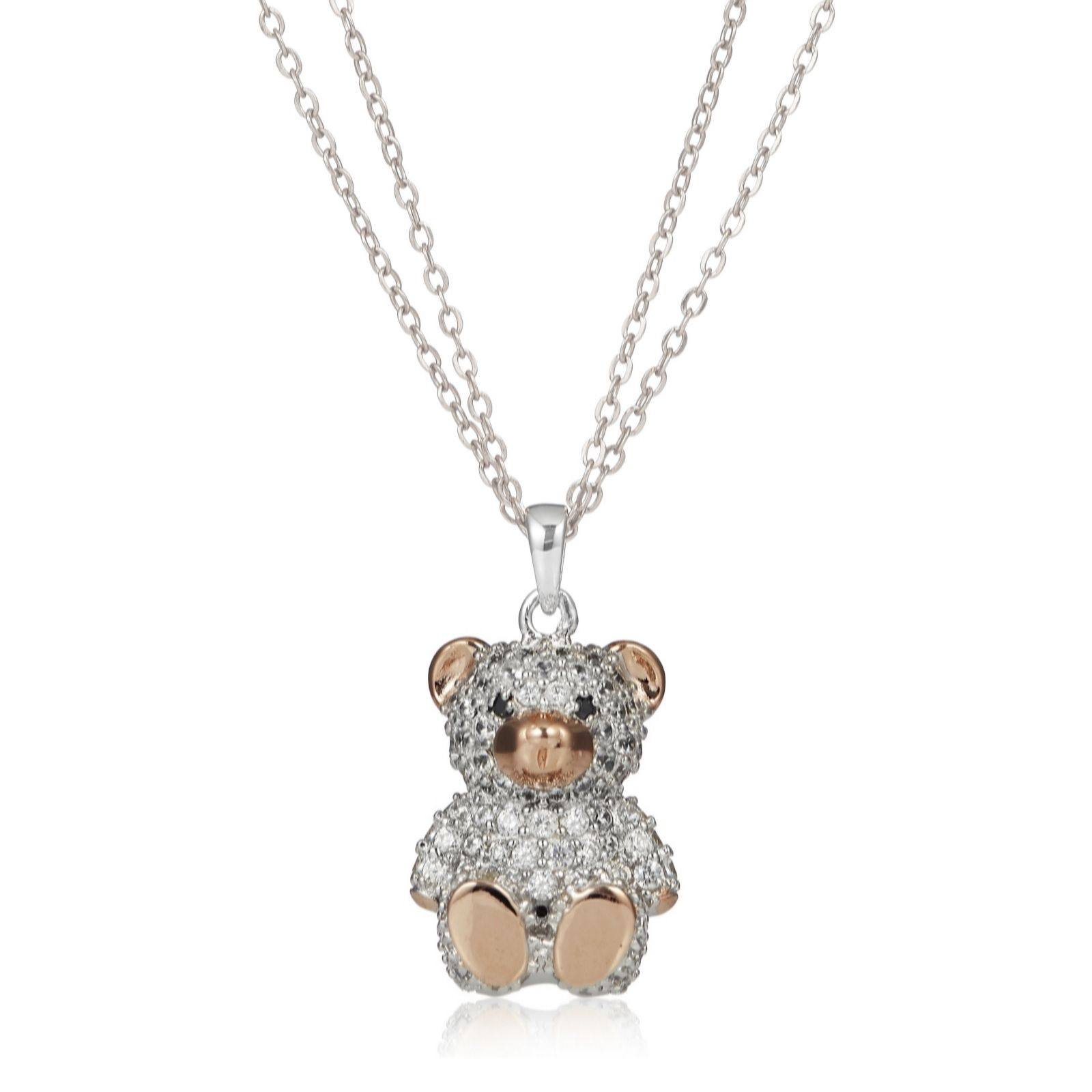 teddy children necklace in sterling long pendant inches bear silver