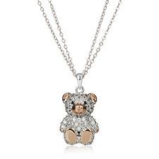 Diamonique 1.4ct tw Pave Teddy Bear Pendant & Chain Sterling Silver