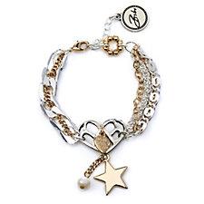 Bibi Bijoux Multi Chain Heart & Star Bracelet