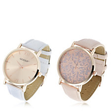 Gossip Set of 2 Filigree & Plain Faux Leather Watches