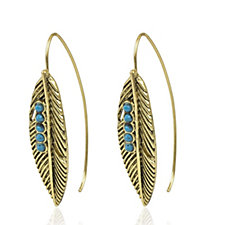 Danielle Nicole Antique Gold Tone Feather Threader Earrings