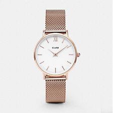Cluse La Boheme White Dial Minute Mesh Strap Watch
