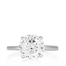 Diamonique 4ct tw Century Cut Solitaire Ring Sterling Silver